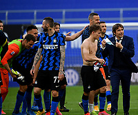Inter Milan's coach Antonio Conte, right, celebrates with his players at the end of the Italian Serie A football match between Inter Milan and Sampdoria at Milan's Giuseppe Meazza stadium, May 8, 2021. Inter won his 19th Scudetto.<br /> UPDATE IMAGES PRESS/Isabella Bonotto