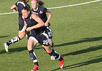 Abby Wambach #20 and Becky Sauerbrunn #22 of the Washington Freedom  during a WPS match against the Boston Breakers at the Maryland Soccerplex, in Boyd's, Maryland, on April 18 2009. Breakers won the match 3-1.