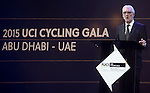 UCI President Brian Cookson speaks on stage at the UCI Gala Dinner held in the Yas Marina Hotel, Abu Dhabi. 11th October 2015.<br /> Picture: ANSA/Claudio Peri, Angelo Carconi | Newsfile
