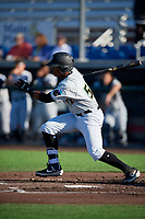 West Virginia Black Bears Matthew Fraizer (52) at bat during a NY-Penn League game against the Auburn Doubledays on August 23, 2019 at Falcon Park in Auburn, New York.  West Virginia defeated Auburn 8-1, the first game of a doubleheader.  (Mike Janes/Four Seam Images)