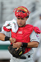 Fort Myers Miracle catcher Josmil Pinto #36 during a game against the Palm Beach Cardinals at Roger Dean Stadium on May 2, 2012 in Jupiter, Florida.  Fort Myers defeated Palm Beach 2-1.  (Mike Janes/Four Seam Images)