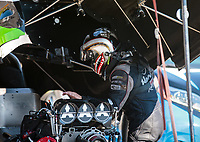 Jun 15, 2018; Bristol, TN, USA; NHRA funny car driver Jonnie Lindberg during qualifying for the Thunder Valley Nationals at Bristol Dragway. Mandatory Credit: Mark J. Rebilas-USA TODAY Sports