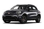 Stock pictures of low aggressive front three quarter view of 2019 Fiat 500X Cross-S-Design 5 Door SUV Low Aggressive