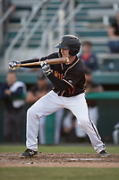 Modesto Nuts catcher Tyler Baker (17) shows bunt during a California League game against the Lake Elsinore Storm at John Thurman Field on May 11, 2018 in Modesto, California. Modesto defeated Lake Elsinore 3-1. (Zachary Lucy/Four Seam Images)