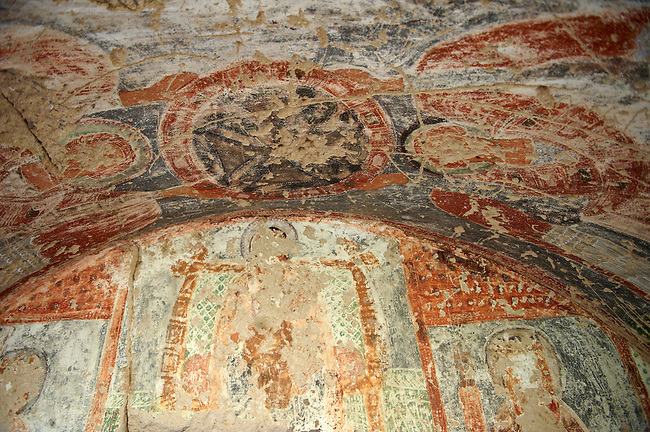 Early Christian frescoes in the rock cave churches in the tuff rock at Goreme Park, Cappadocia, Turkey