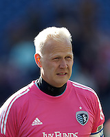 Sporting Kansas City goalkeeper Jimmy Nielsen (1).  In a Major League Soccer (MLS) match, Sporting Kansas City (blue) tied the New England Revolution (white), 0-0, at Gillette Stadium on March 23, 2013.
