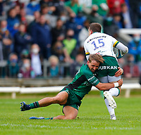 11th September 2021; Galway Greyhound Stadium, Connacht, Galway, Ireland; Pre-season rugby union, Connacht versus London irish; John Porch (Connacht) tackles Tom Pearson (London Irish)