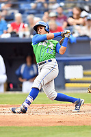 Lexington Legends second baseman Gabriel Cancel (12) swings at a pitch during a game against the Asheville Tourists at McCormick Field on May 29, 2017 in , North Carolina. The Legends defeated the Tourists 6-2. (Tony Farlow/Four Seam Images)