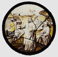 Roundel with Joseph Buying Corn in Egypt, ca. 1520. Colorless glass, silver stain, vitreous paint. The Metropolitan Museum of Art, New York.
