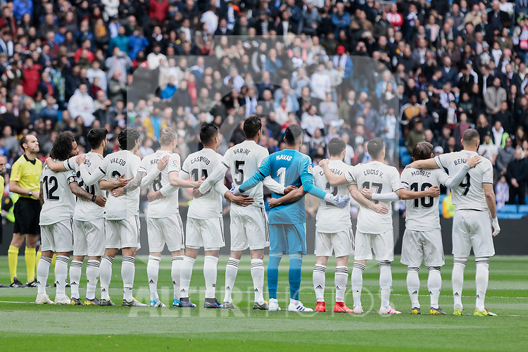 Real Madrid's players during La Liga match between Real Madrid and Athletic Club de Bilbao at Santiago Bernabeu Stadium in Madrid, Spain. April 21, 2019. (ALTERPHOTOS/A. Perez Meca)