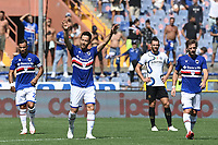 Maya Yoshida of UC Sampdoria (2l) celebrates with team mates after scoring the goal of 1-1 during the Serie A football match between UC Sampdoria and FC Internazionale at stadio Marassi in Genova (Italy), September 12th, 2021. Photo Image Sport / Insidefoto
