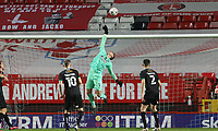 Michael Cooper of Plymouth Argyle tips a shot over the crossbar during Charlton Athletic vs Plymouth Argyle, Emirates FA Cup Football at The Valley on 7th November 2020