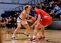 19 February 2020: University of Vermont Catamount Forward Delaney Richason, a Freshman from Zionsville, IN, in first-half action against the Stony Brook Seawolves at Patrick Gymnasium in Burlington, Vermont. The Lady Seawolves edged out the Lady Catamounts 72-68 in America East Women's Basketball. Mandatory Credit: Ed Wolfstein Photo *** RAW (NEF) Image File Available ***