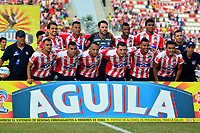 BARRANQUILLA - COLOMBIA - 03 - 12 - 2017: Los jugadores de Atlético Junior, posan para una foto, durante partido de la fecha 2 entre Atlético Junior y Deportivo Pasto por la Liga Aguila II 2018, jugado en el estadio Romelio Martínez de la ciudad de Barranquilla. / The players of Atletico Junior, pose for a photo, during a match of the of the 2nd date between Atletico Junior and Deportivo Pasto for the Liga Aguila II 2018 at the Romelio Martinez stadium in Barranquilla city, Photo: VizzorImage / Alfonso Cervantes / Cont.