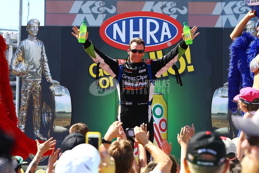 Apr 12, 2015; Las Vegas, NV, USA; NHRA top fuel driver Clay Millican during the Summitracing.com Nationals at The Strip at Las Vegas Motor Speedway. Mandatory Credit: Mark J. Rebilas-