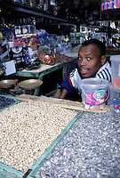 Fez, Morocco - Hassan, Vendor of Candy, Nuts, and Seeds, in his Shop.