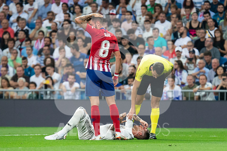Real Madrid Sergio Ramos and Atletico de Madrid Saul Niguez during La Liga match between Real Madrid and Atletico de Madrid at Santiago Bernabeu Stadium in Madrid, Spain. September 29, 2018. (ALTERPHOTOS/Borja B.Hojas)