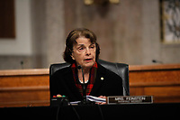 United States Senator Dianne Feinstein (Democrat of California), Ranking Member, US Senate Judiciary Committee gives her opening statement during a US Senate Judiciary Committee business meeting on Capitol Hill in Washington, Thursday, June 11, 2020. <br /> Credit: Carolyn Kaster / Pool via CNP/AdMedia