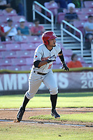 Norberto Obeso (10) of the Vancouver Canadians runs to first base during a game against the Salem-Keizer Volcanoes at Volcanoes Stadium on July 24, 2017 in Keizer, Oregon. Salem-Keizer defeated Vancouver, 4-3. (Larry Goren/Four Seam Images)