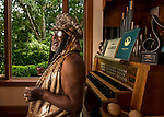Singing Frank Sinatra songs George Clinton - 77 year old American songwriter, band leader, and record producer who launched the band Parliament - Funkadelic and heavily influenced popular music over five decades - at his home in Tallahassee, Florida. Clinton was inducted into the Rock and Roll Hall of Fame in 1997 and is set to retire in early 2019.