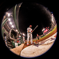 15 August 2017: Los Angeles Angels infielder Kaleb Cowart on deck during a game against the Washington Nationals at Nationals Park in Washington, DC. The Nationals defeated the Angels 3-1 in the first game of their 2-game series. Mandatory Credit: Ed Wolfstein Photo *** RAW (NEF) Image File Available ***