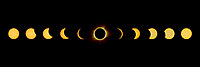 A composite showing the 2017 solar eclipse from beginning to end.  The yellow color on the partials was caused by the solar filter on the camera.  I matched the tone of the totality image for artistic effect.