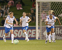 Kristine Lilly #13 and Angela Hucles #16 of the Boston Breakers start an attack against the Washington Freedom during a WPS match at the Maryland Soccerplex, in Boyd's, Maryland, on April 18 2009. Breakers won the match 3-1.