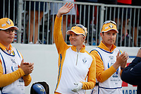 5th September 2021; Toledo, Ohio, USA;  Madelene Sagstrom of Team Europe is introduced at the first tee during the morning Four-Ball competition during the Solheim Cup on September 5th