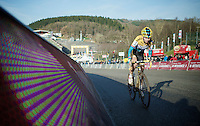 Nikki Harris (GBR/Telenet-Fidea) soloing on the  Raidillon finish climb<br /> <br /> Superprestige Francorchamps 2014