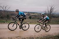 race leaders Wout Van Aert (BEL/Veranda's Willems-Crelan) & Romain Bardet (FRA/AG2R-La Mondiale) in the 1 but last gravel sector<br /> <br /> 12th Strade Bianche 2018<br /> Siena > Siena: 184km (ITALY)