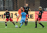 WASHINGTON, DC - SEPTEMBER 06: Maximiliano Moralez #10 of New York City FC takes.a shot during a game between New York City FC and D.C. United at Audi Field on September 06, 2020 in Washington, DC.