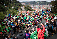 red jersey (overall leader) Primoz Roglic (SVK/Jumbo-Visma) & a group of GC favourites up the brutal (last climb) Alto de Arraiz (up to 25% gradients!), above Bilbao, 7km from the finish <br /> <br /> Stage 12: Circuito de Navarra to Bilbao (171km)<br /> La Vuelta 2019<br /> <br /> ©kramon