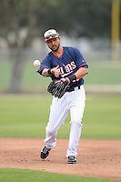 Minnesota Twins infielder Jason Bartlett (11) during practice on February 25, 2014 at Hammond Stadium in Fort Myers, Florida.  (Mike Janes Photography)