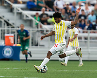 HARTFORD, CT - AUGUST 17: Nicque Daley #11 of Charleston Battery takes a shot during a game between Charleston Battery and Hartford Athletic at Dillon Stadium on August 17, 2021 in Hartford, Connecticut.