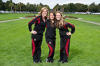 Morgan Fuller, Kimiko Urata and Alie Bollaidlaw of the 2010 Stanford Synchronized Swimming team.