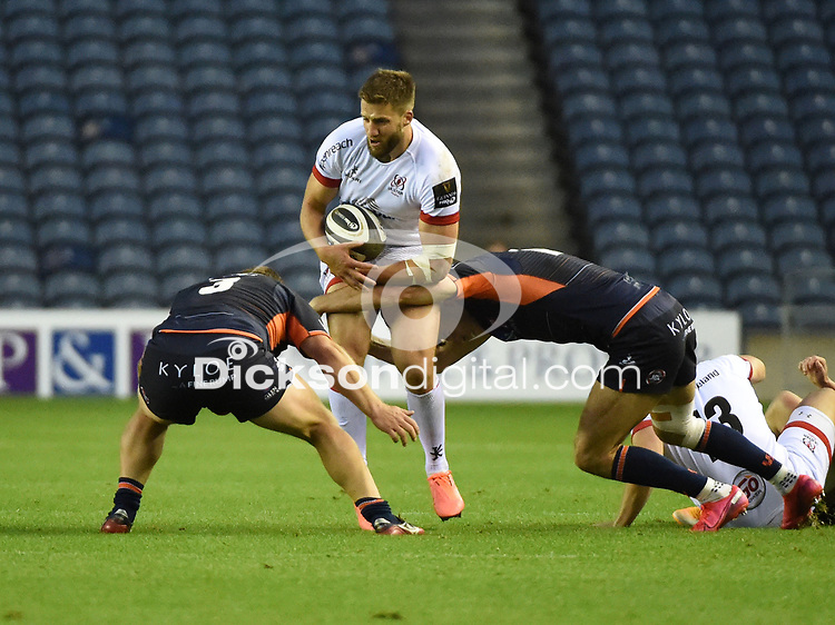 Saturday 5th September 2020 | PRO14 Semi-Final<br /> <br /> Stuart McCloskey is tackled by WP Nel during the Guinness PRO14 Semi-Final between Edinburgh and Ulster at the BT Murrayfield Stadium Edinburgh, Scotland. Photo by David Gibson / Dicksondigital
