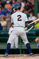 Second Baseman Shea Vucinich #2 of the Brevard County Manatees waits for a pitch during the game against the Daytona Beach Cubs at Jackie Robinson Ballpark on April 9, 2011 in Daytona Beach, Florida. Photo by Scott Jontes / Four Seam Images