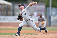 Charleston RiverDogs starting pitcher Ian Clarkin #16 delivers a pitch during a game against the Asheville Tourists at McCormick Field July 26, 2014 in Asheville, North Carolina. The Tourists defeated the RiverDogs 9-6. (Tony Farlow/Four Seam Images)