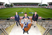 Ulster Schools' Cup Winners 2020<br /> <br /> Richard Caldwell representing sponsors Danske Bank is pictured at Kingspan Stadium with The Wallace High School captain Ruben Crothers and Ulster Branch President Gary Leslie when the famous Schools' Cup trophy was presented. The St. Patrick's Day final against Wallace High Schools was cancelled cue to COCID-19 as a consequence the Cup will he shared for the 2019-2020 season.  Photo by John Dickson / Dicksondigital