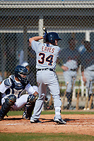Detroit Tigers Kody Eaves (34) during a Minor League Spring Training intrasquad game on March 24, 2018 at the TigerTown Complex in Lakeland, Florida.  (Mike Janes/Four Seam Images)