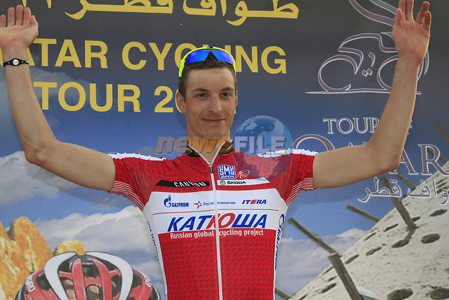 Katusha Team rider Rudiger Selig (GER) leads the young rider classification at the end of Stage 3 of the 2012 Tour of Qatar running 146.5km from Dukhan Souq, Dukhan to Al Gharafa, Qatar. 7th February 2012.<br /> (Photo Eoin Clarke/Newsfile)