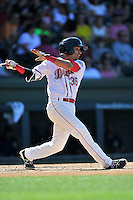 Shortstop Jeremy Rivera (35) of the Greenville Drive bats in a game against the Columbia Fireflies on Sunday, April 24, 2016, at Fluor Field at the West End in Greenville, South Carolina. Greenville won, 5-1. (Tom Priddy/Four Seam Images)