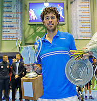 Rotterdam, Netherlands, December 20, 2015,  Topsport Centrum, Lotto NK Tennis, Final mens single Robin Haase (NED) winner 2015 with the trophy<br /> Photo: Tennisimages/Henk Koster