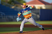 """Montgomery Biscuits pitcher Brendan McKay (38) during a game against the Pensacola Blue Wahoos on August 11, 2021 at Blue Wahoos Stadium in Pensacola, Florida.  The Biscuits wore special uniforms and played as The Gumps for the """"Festival of Crabzilla"""" promotional night, in honor of a sandwich the Blue Wahoos sell.  (Mike Janes/Four Seam Images)"""