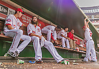 30 August 2015: Washington Nationals outfielder Jayson Werth (right) chats with infielder Trea Turner in the dugout during a game against the Miami Marlins at Nationals Park in Washington, DC. The Nationals rallied to defeat the Marlins 7-4 in the third game of their 3-game weekend series. Mandatory Credit: Ed Wolfstein Photo *** RAW (NEF) Image File Available ***
