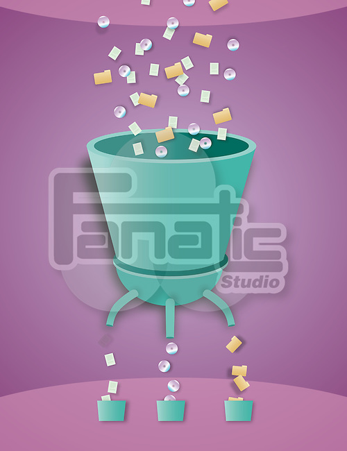 Illustrative image of machine arranging CD, folders and papers in buckets