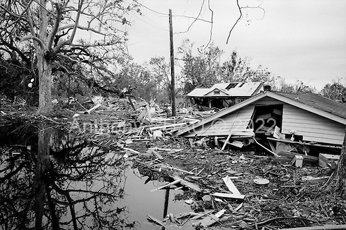 Waveland, Mississippi.USA.December 2, 2005 ..Hurricane Katrina damage and recovery along the coast. Residents gut their homes and leave belongings on the street...