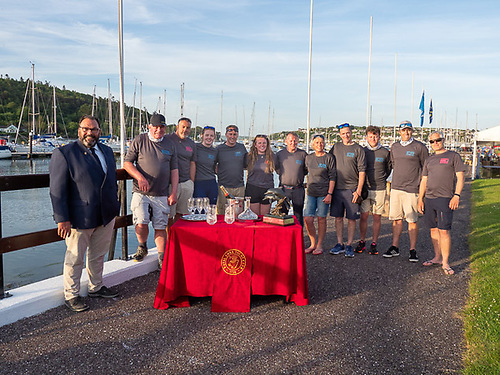 Royal Cork Admiral Colin Morehead welcomes home Nieulargo, the 2021 D2D Race winners at Crosshaven