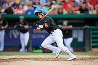 Kane County Cougars second baseman Jancarlos Cintron (1) grounds out during a game against the South Bend Cubs on July 21, 2018 at Northwestern Medicine Field in Geneva, Illinois.  South Bend defeated Kane County 4-2.  (Mike Janes/Four Seam Images)