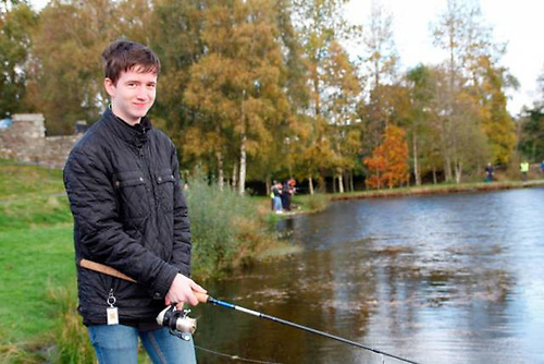 Vincent Comerford Jr from St James CBS fishing in the Sean McMorrow Memorial at the Angling for All facility in Aughrim in October 2019